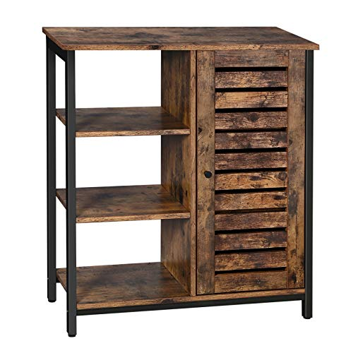 VASAGLE Industrial Storage Cabinet, Bathroom Floor Standing Cabinet, Sideboard With 3 Shelves and Cupboard, Living Room, Bedroom, Hallway, Kitchen, 27.6''L x 11.8''W x 31.9''H, Rustic Brown ULSC74BX (Furniture Bathroom Vintage)