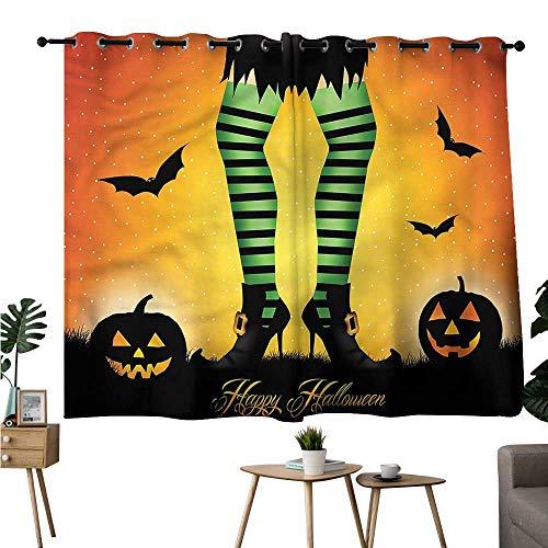 Beihai1Sun Decor Darkening Curtains Grommets Curtain Decoration Halloween,Cartoon Witch Room/Bedroom, W72 x L45 ()