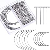 #8: Bememo 70 Pieces Wig Making Pins Needles Set, Wig T Pins and C Curved Needles Hair Weave Needles for Wig Making, Blocking Knitting, Modelling and Crafts