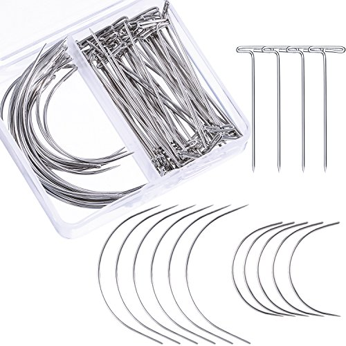 Bememo 70 Pieces Wig Making Pins Needles Set, Wig T Pins and C Curved Needles Hair Weave Needles for Wig Making, Blocking Knitting, Modelling and Crafts ()