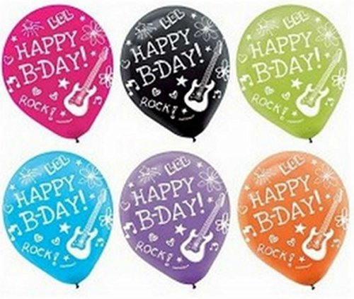 """Custom, Fun & Cool {Big Large Size 12"""" Inch} 6 Pack of Helium & Air Inflatable Latex Rubber Balloons w/ Neon Kids Doodle Happy Birthday Design [in Variety Assorted (Neon Sweet 16)"""
