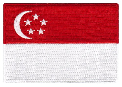 Singapore Flag Embroidered Patch Singaporean Iron-On National Emblem