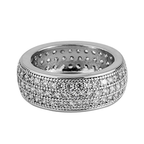 Mandy Hip Hop Men's Rings 14K Gold Plated CZ CRYSTAL Fully Iced-Out Round Ring Bling Bling (Silver, 7) ()