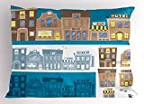 Lunarable Children's City Map Pillow Sham, Shops in the Town Cafe and Restaurant Building Facade, Decorative Standard Size Printed Pillowcase, 26 X 20 Inches, Cobalt Blue Yellow and Brown