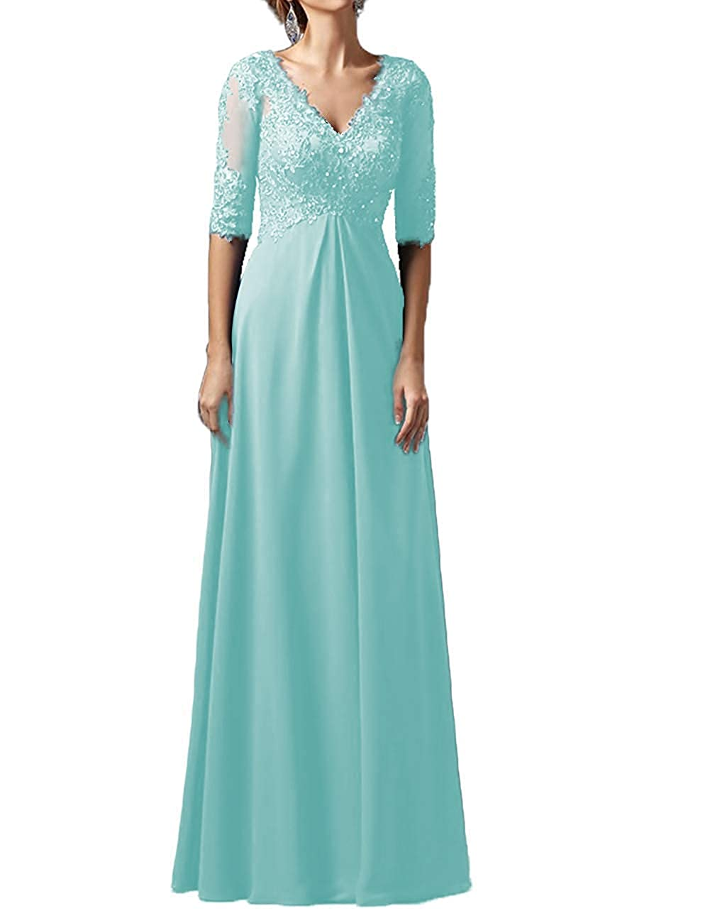 bluee Mother Dress Long Sleeves V Neck Plus Size Mother of The Bride Dress Formal Party Evening Gowns