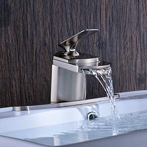 - Votamuta Stainless Steel Waterfall Spout Bathroom Basin Sink Faucet One Handle Bathroom Mixer Tap with Deck Plate Fit 1 Hole Or Three Hole Basin Sink