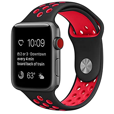Watch Band 42mm 38mm, Soft Silicone Replacement Band for Apple Watch Series 3, Series 2, Series 1, Sport , Edition (BK/RD, 42mm,M/L)