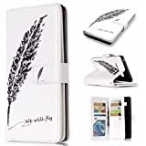Galaxy Note 8 Case, Ranyi [9 Card Slots Wallet] [Cute Painting Design] [Kickstand Feature] Heavy Duty Dual Layer PU Leather Flip Magnetic Wallet Case for Samsung Galaxy Note 8 (2017), black feather