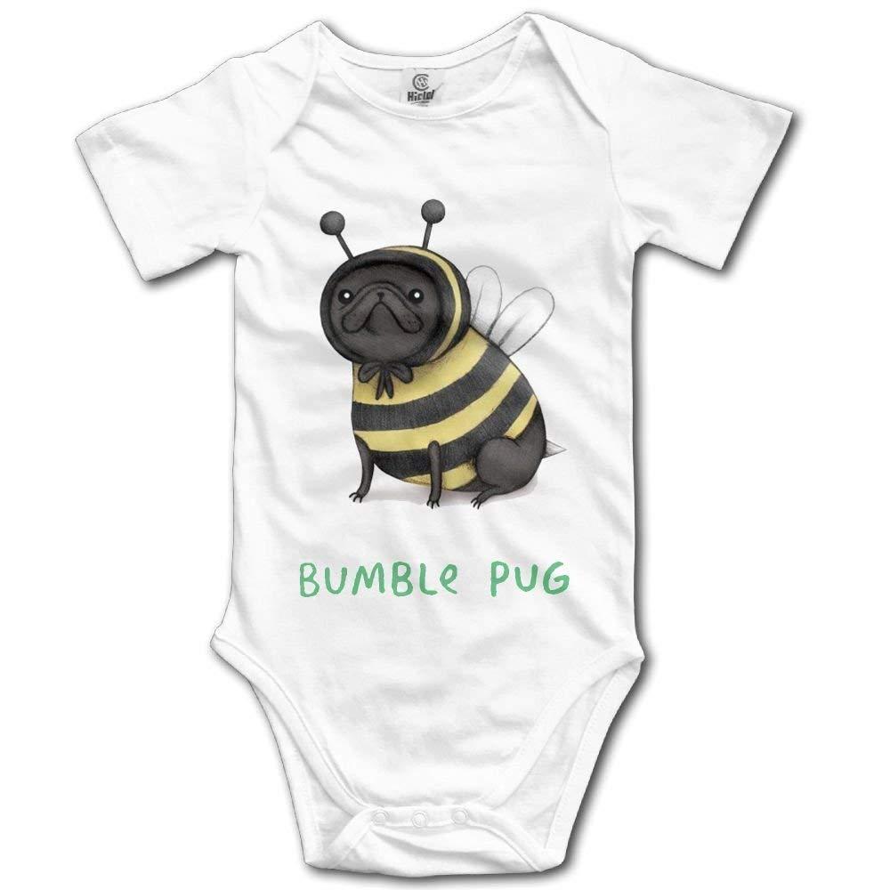 kaskdawjsdwjs BumblePug Bumblebee Infant Baby Short Sleeve Bodysuit Romper