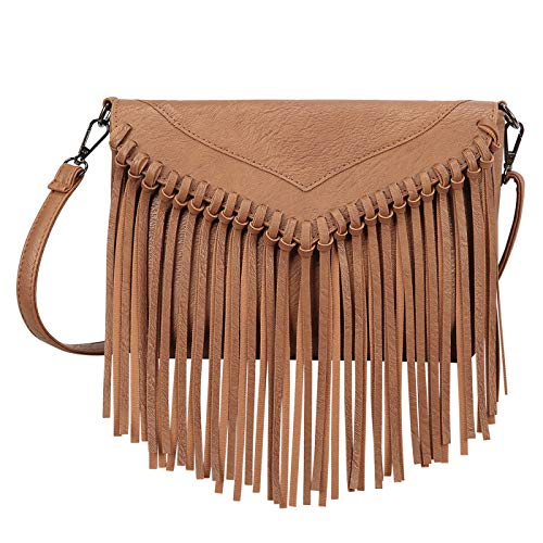 - HDE Women's PU Leather Hobo Fringe Crossbody Tassel Purse Vintage Small Handbag