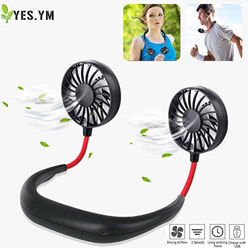 (YES.YM Neckband Fan Hand Free Personal Fan Portable USB Battery Rechargeable Mini Fan,3 Speed Adjustable for Outdoor Traveling Indoor Office Room )