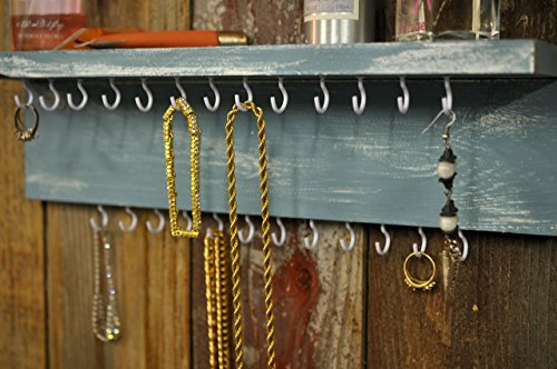Rustic Wood Jewelry Organizer Wall Shabby Chic Jewelry Holder Rustic Jewelry Holder, Shabby Chic Organizer Color Choice