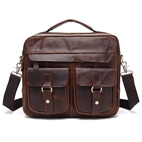 vintage ufficio pelle borsa in marrone Messenger tracolla a Borsa scuro pelle affari pollici Briefcase Laptop in Bag marrone cartella Baigio Uomo lavoro 13 nXwFUpqU