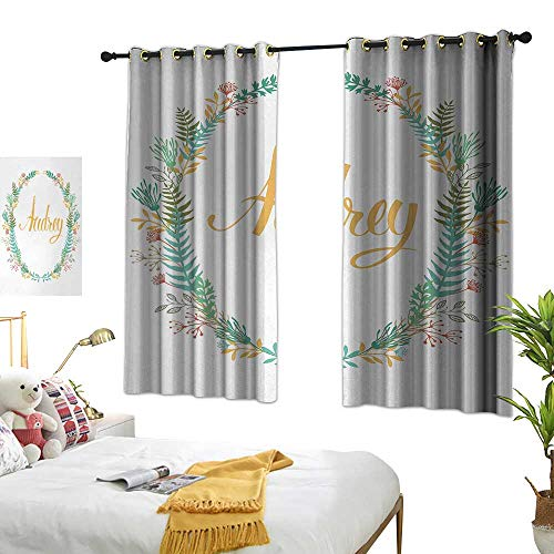 - Bedroom balcony living room curtain Audrey Retro Style Arrangement with Flourishing Nature Flowers and Leaves Signature Pattern W63