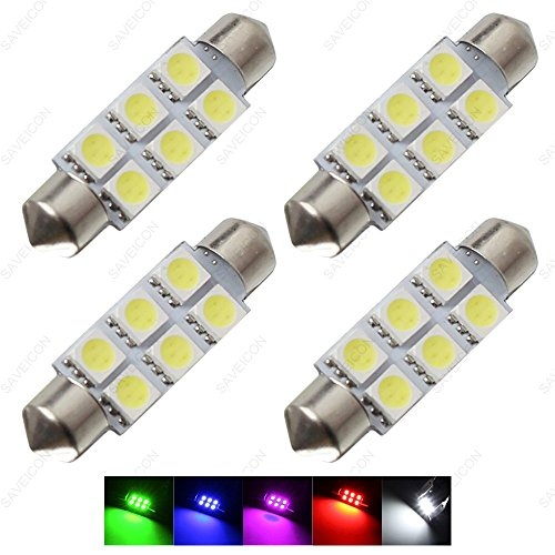 "SAWE - 1.72"" 42mm 6-SMD 5050 Festoon LED Bulbs For Dome Map Light 211-2 578 (4 pieces) (Green)"