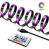 inShareplus LED TV Backlight Strip, 2M/6.6Ft Total 60 LEDs RGB LED Strip Lights for 40 to 60 in HDTV Neon Light Bias Lighting with RF Remote, 5V USB Powered