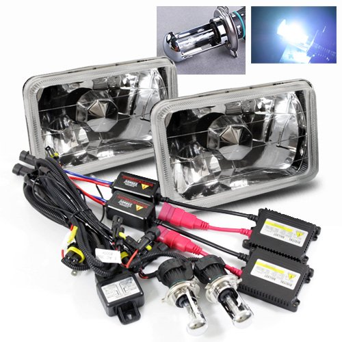 ModifyStreet 8000K Blueish White H4-3 Hi/Low Slim HID/7x6 H6014/H6052/H6054 Chrome Crystal ()