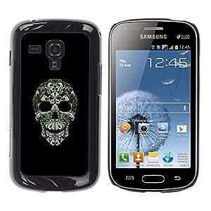 Be Good Phone Accessory // Dura Cáscara cubierta Protectora Caso Carcasa Funda de Protección para Samsung Galaxy S Duos S7562 // Skull Bling Nature Silver Green Skeleton