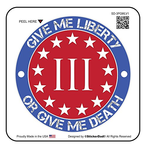 3 Percenter Give Me Liberty or Give Me Death (3 PACK) vinyl Hard Hat Helmet decal - size: 2