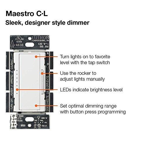 lutron maestro c l dimmer switch for dimmable led halogen. Black Bedroom Furniture Sets. Home Design Ideas