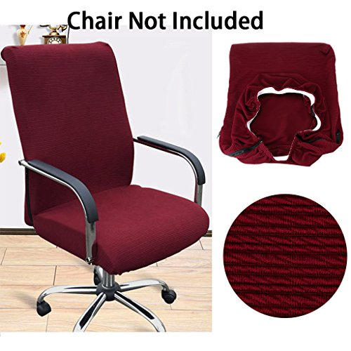 BTSKY Office Computer Chair Covers Stretchy -Polyester Desk Chair / Rotating Chair Cover, Large Size (Red)