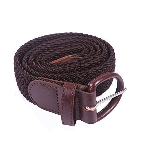 Leather Covered Buckle Belt (HDE Men's Elastic Braided Belt Woven Stretch Fabric with Covered)