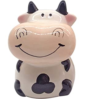 ZCHING Cute Cow Ceramic Piggy Bank Personalized Money Saving Bank For Kids  Girls Boy Nursery Gift
