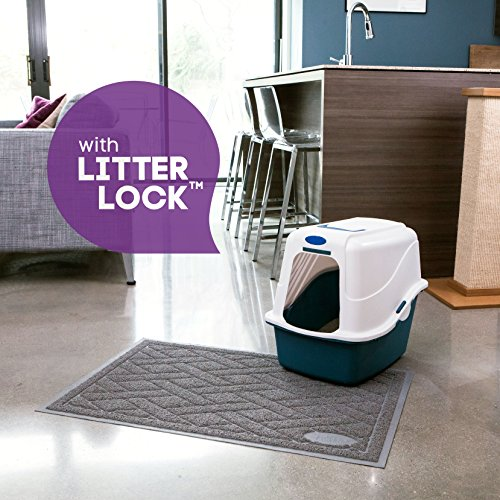 Pawkin Cat Litter Mat, Patented Design with Litter Lock Mesh, Extra Large, Durable, Easy to Clean, Soft, Fits Under Litter Box, Litter Free Floors, Gray