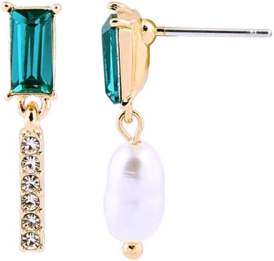 lbince Pendientes Colgantes con Forma de Barra de Cristal pavimentado de diseño asimétrico Pendientes Colgantes de Perlas barrocas para Mujer