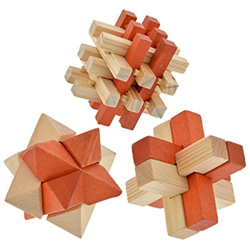 Brain Teaser 3-D Wooden Puzzles, 3 Puzzles by DTSC Imports