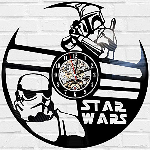 Kovides Unique Gift Idea for Fan Decorations for Birthday Party Star Wars Wall Clock Large Vintage Wall Clock Film Star Wars LP Clock Movie Star Wars Art Retro Vinyl Record Clock -