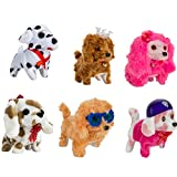 (1-Pack of 6) Walking and Barking Plush Happy Doggy Preschool Collection Holiday Toys