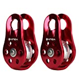 MonkeyJack 2pcs Aluminum Fixed Side Rope Pulley Rock Climbing Arborist Gear 20KN
