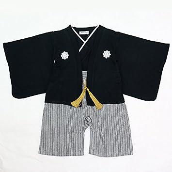 be69a30045553 ベビー キッズ 子供服 袴風 カバーオール ロンパース 男の子 黒 90cm 10667506BK90