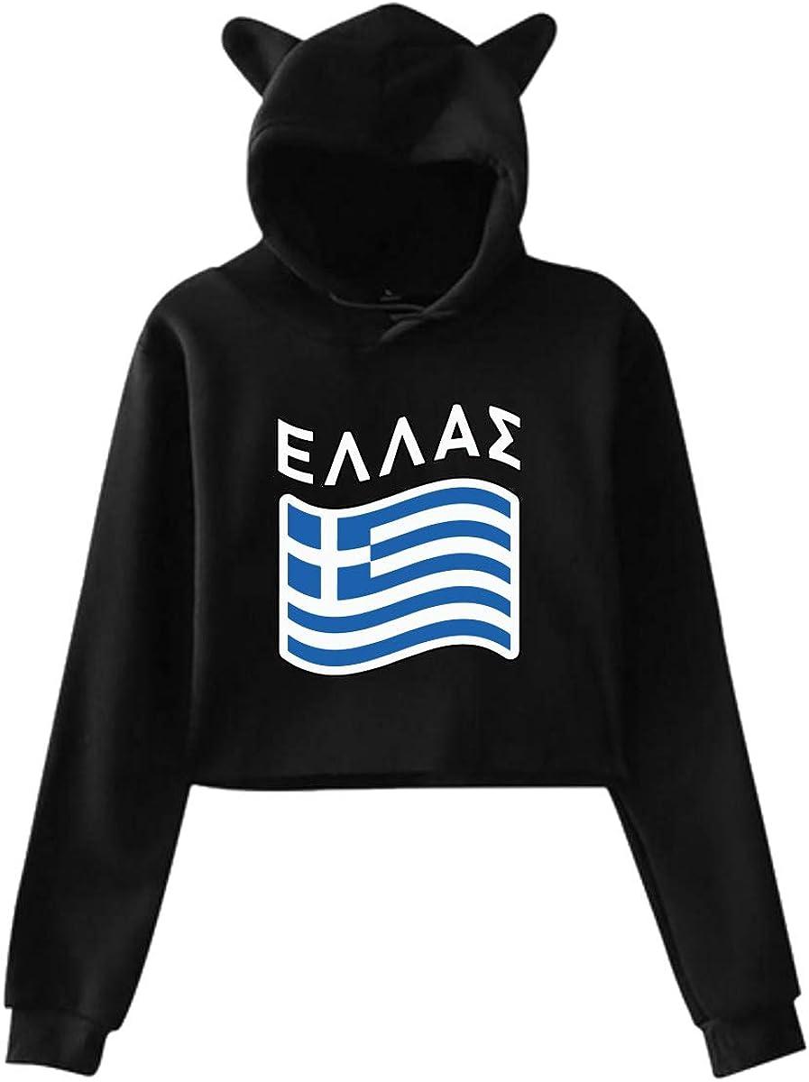 Greek Greece Saying Flag Cat Ear//Unicorn Cropped Sweatshirts Hoody for Women Teen Girls