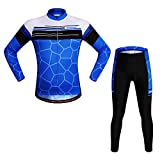 WOSAWE Mens Cycling Jersey Shirt Long Sleeves Breathable 4D Padded Pants