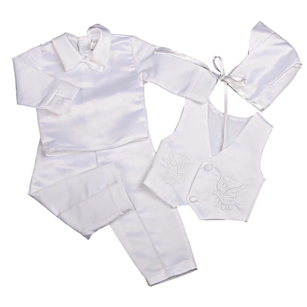 Lito Angels Baby Boys' 4 Pcs Satin Baptism Christening Suit With Bonnet Short/Long Sleeves Infant