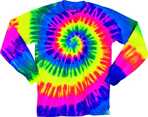 Rainbow Faded Spiral Adult Tie Dye Long Sleeve T-Shirt Tee,Fluorescent,Large