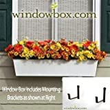 Tapered Galvanized Window Box - White - 60 Inch | Includes (2) 8 Inch Shelf Bracket Pairs