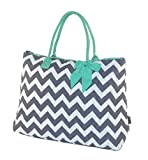Quilted Chevron Print Large Womens Tote Bags (Grey Chevron Mint Trim)