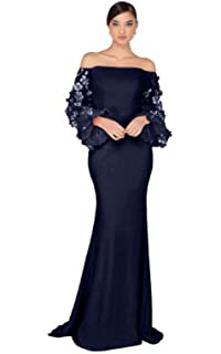 f9c31bba6a8 Terani Couture - 1911E9128 Offshoulder Floral Accent Puff Sleeves Gown