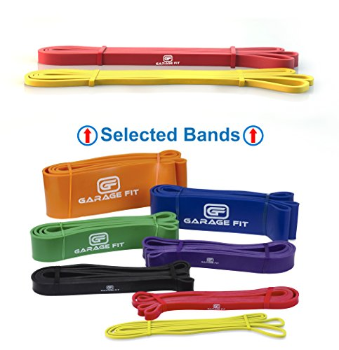 Band Scrolled - Garage Fit Pull up Assist Bands - Resistance Bands, Pull up Bands, Mobility Bands for Cross Training, Exercise Resistance Bands for Gymnastics and Powerlifting (Bundle #0 Yellow & #1 Red)