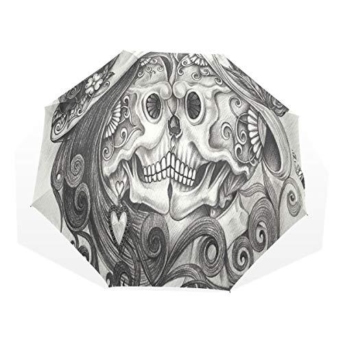 XiangHeFu Umbrella Skull Couple Kiss Day of Dead Auto Open Close 3 Folds Lightweight - Kiss Deck Light
