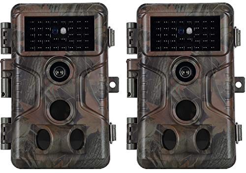 2-Pack Trail Game Camera with Night Vision 100ft Motion Activated Waterproof No Glow Full HD 20MP 1920x1080P H.264 Video Deer Hunting Cam 0.1S Trigger Speed Time Lapse Password Protected from Agitato