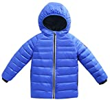Roffatide Kids Quilted Packable Down Coat Lightweight Windproof Outwear Children Warm Puffer Jacket with Hood Royal Blue 110