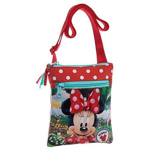 Disney Minnie Garden Borsa Messenger, Poliestere, Rosso, 18 cm