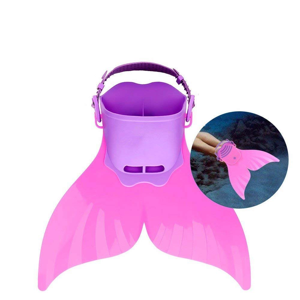 Amazing Children Kids Adjustable Diving Swimming Fins Silicone Scuba Snorkeling Swimming Flippers Mermaid Pool Water Sports Pink/Green