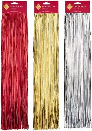 - Christmas Decorative Tinsel Red/Gold/Silver Lametta by party