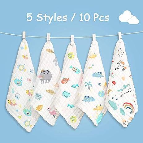 Caiery10pz Mussole Neonato/Asciugamani da bagno per bambini 30cm*30cm, extra morbidi, in mussola di cotone organico… Accessori 10pz 5