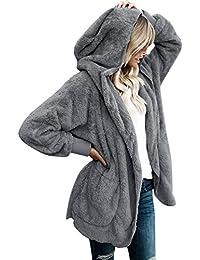 Women's Oversized Open Front Hooded Draped Pockets Cardigan Coat